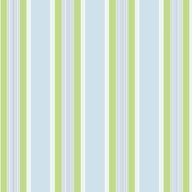 Porthmeor (Cotton) - 3 - A repeated striped pattern in white, light blue and apple green on cotton fabric