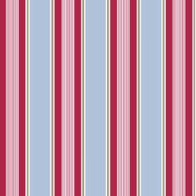 Porthmeor (Cotton) - 4 - Cotton fabric with wide light blue stripes, raspberry coloured stripes of different widths and thin silver and white