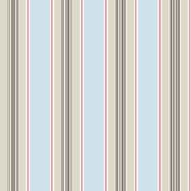 Porthmeor (Cotton) - 5 - Pastel striped cotton fabric featuring bands of green, blue, pink, white and grey
