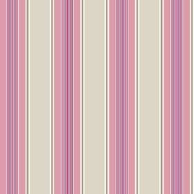 Porthmeor (Cotton) - 6 - Vertical pink, purple, grey, white and stone coloured stripes printed on cotton fabric