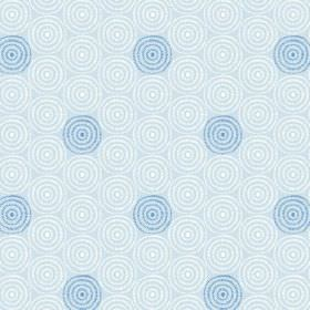 Minnack (Linen Union) - 1 - Linen fabric in pale blue, with a pattern of repeated, regular circles of white and bright blue
