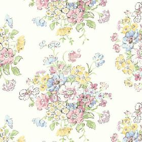 Porthcurno (Linen Union) - 2 - White fabric made from linen, with a pattern of pastel blue, yellow, pink and green flowers