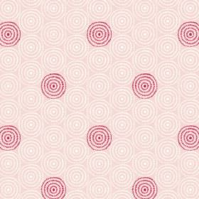 Minnack (Cotton) - 3 - White and cherry coloured circles printed repeatedly over cotton fabric in a pale pink colour