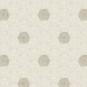 Minnack (Cotton) - 4 - Light grey cotton fabric printed with concentric circles of white and olive green