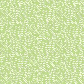 Lamorna (Linen Union) - 5 - Sprigs of simple white leaves on a bright, lime green coloured linen background