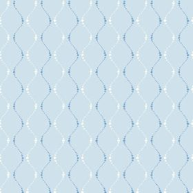 Zelah (Cotton) - 1 - Light blue cotton fabric patterned with wavy, dotted lines in dark blue and white