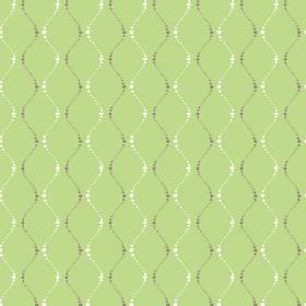 Zelah (Cotton) - 2 - Dotted, wavy lines in very dark brown and white printed on apple green coloured cotton fabric
