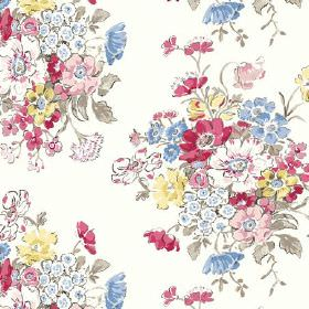 Porthcurno (Linen Union) - 3 - Fabric made from white linen, printed with bunches of flowers in red, white, blue, green and yellow