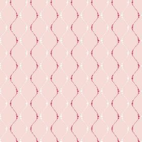 Zelah (Linen Union) - 3 - Dark pink and white wavy, dotted lines printed on a background of pale pink linen