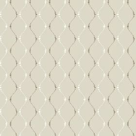 Zelah (Linen Union) - 4 - Linen fabric in pale green-grey, with a design of wavy lines made up of white and dark green-grey dots