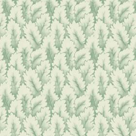 Newlyn (Cotton) - 4 - Leaf print cotton fabric in shades of green and cream