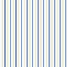 Tresco (Cotton) - 3 - Cotton fabric with a vertical striped design in alternating white, light grey and cobalt blue colours