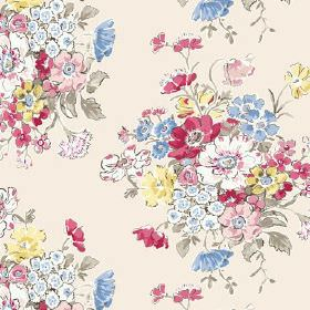 Porthcurno (Linen Union) - 4 - Flowers in red, pink, blue, yellow and green arranged in bunches and printed on very pale pink linen fabric
