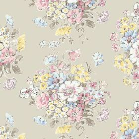 Porthcurno (Linen Union) - 5 - Pale green-grey linen fabric patterned with bursts of pastel pink, yellow, blue and green flowers
