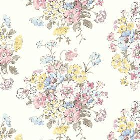 Porthcurno (Cotton) - 6 - Pastel yellow, pink, blue and green flowers on a white cotton fabric background
