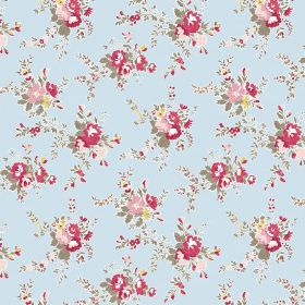 Zennor (Linen Union) - 1 - Light blue fabric made from linen, with a floral pattern in red, pink, yellow and green