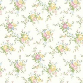 Zennor (Linen Union) - 2 - Pastel pink, green, yellow and blue flowers printed on white fabric