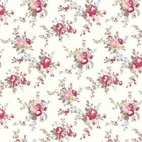 Zennor (Cotton) - 3 - A white cotton fabric background to red, pink, yellow and olive green coloured flowers
