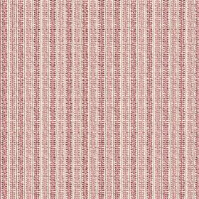 Rilly Stripe (Linen Union) - 3 - Fabric made from cream linen, with rows of dark and light purple textured effect patterns