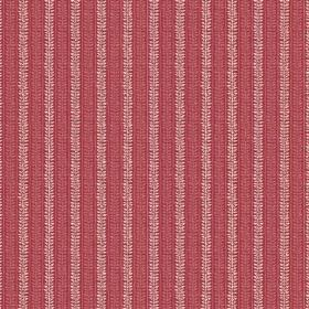 Rilly Stripe (Linen Union) - 4 - Striped linen fabric with red and salmon pink coloured patterned stripes