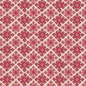Palmyra Diamond (Linen Union) - 1 - Linen fabric in an off-white colour, with a repeated pattern of large geometric shapes in red and dusky