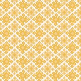 Palmyra Diamond (Cotton) - 2 - White cotton fabric repeatedly printed with a geometric design in bright yellow colours