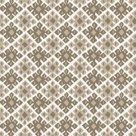 Palmyra Diamond (Cotton) - 3 - Cotton fabric in white, printed with a geometric pattern in both light and dark shades of green-grey