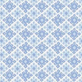 Palmyra Diamond (Linen Union) - 4 - Mid blue and light blue coloured geometric shapes printed on fabric made from white linen