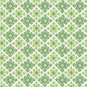 Palmyra Diamond (Cotton) - 5 - Off-white cotton fabric as a background for a repeated geometric pattern in bright and light shades of green