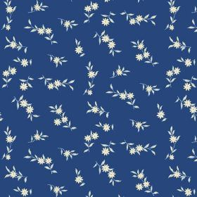 Rilly Flower (Cotton) - 3 - Tiny white daisies and leaves printed on deep, navy blue cotton fabric