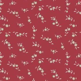 Rilly Flower (Cotton) - 6 - Deep red cotton fabric patterned with small white flowers and leaves