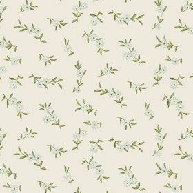 Rilly Flower (Linen Union) - 7 - Pale blue flowers and green leaves printed on off-white linen fabric