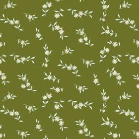 Rilly Flower (Linen Union) - 8 - Forest green coloured linen fabric as a background for a pattern of small white daisies and leaves