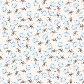 Lulworth Cove (Cotton) - 1 - Single pale blue flowers with grey leaves scattered on white cotton fabric