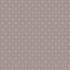 Ringstead Bay (Linen Union) - 4 - Purple-grey fabric made from linen, covered in rows of small beige dots and pale pink circles
