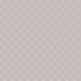 Ringstead Bay (Linen Union) - 5 - Dark grey dots printed alongside white-pink circles on light grey linen fabric
