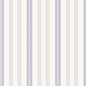 Kimmeridge Bay (Cotton) - 2 - White cotton fabric printed with pale purple and grey stripes