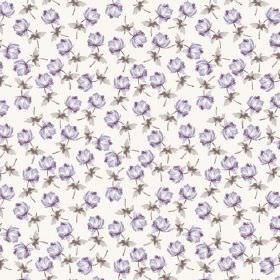 Lulworth Cove (Cotton) - 2 - White cotton fabric printed with individual light purple flowers and small grey leaves