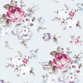 Dancing Ledge (Linen Union) - 1 - Very pale, pastel coloured linen fabric, with a realistic floral design in pink, light blue and mauve