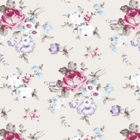 Dancing Ledge (Cotton) - 2 - A floral pattern of pink, blue and lilac roses on a background of very pale pink-cream cotton fabric