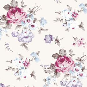 Dancing Ledge (Linen Union) - 3 - Linen fabric in a pale pink-white colour, printed with a floral pattern which is very realistic in pink, m