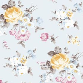 Dancing Ledge (Linen Union) - 4 - Rose print in yellow, grey, light blue and pink against pale blue linen fabric