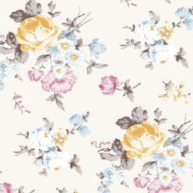 Dancing Ledge (Cotton) - 5 - A pattern of realistic florals in grey, light yellow, pink and blue, scattered on white cotton fabric