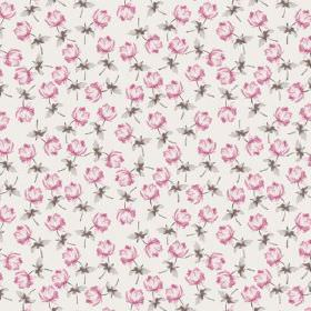 Lulworth Cove (Cotton) - 3 - Grey leaves with individual shaded pink flowers, printed on a background of pale pink cotton fabric