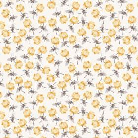 Lulworth Cove (Linen Union) - 4 - Yellow and grey flowers printed repeatedly over linen fabric in white