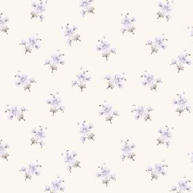 Durdle Door (Cotton) - 2 - White cotton fabric printed with a floral design featuring tiny light purple blooms and grey leaves