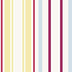 Chesil Beach (Linen Union) - 1 - Multicoloured striped linen fabric, featuring light blue, yellow, white, raspberry red and aubergine colour