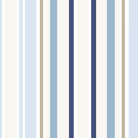 Chesil Beach (Cotton) - 2 - White cotton fabric striped with grey and three different shades of blue