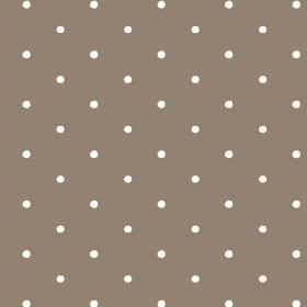 Seatown Small (Linen Union) - 9 - Small white dots of white arranged in lines over a linen fabric background in brown