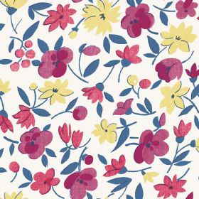 Golden Cap (Linen Union) - 1 - Floral print linen fabric in raspberry red, aubergine, dark blue and creamy yellow colours, with a background